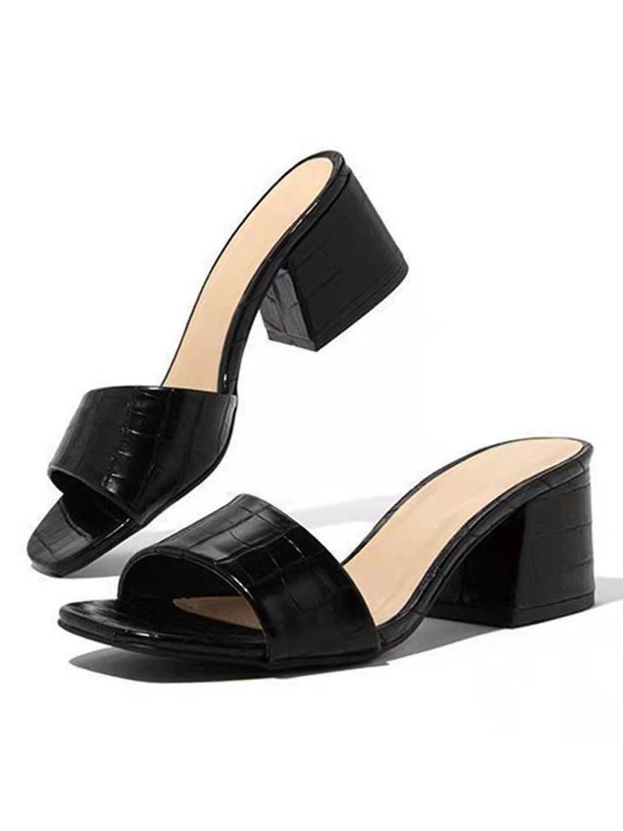 LW BASIC Embossed Open Front Heels