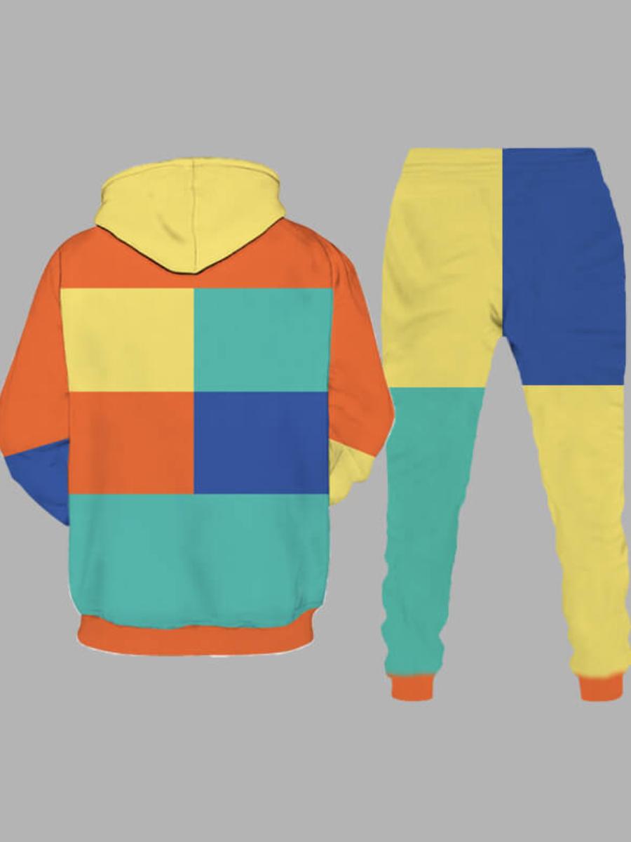 LW Men Hooded Collar Color-lump Patchwork Pants Set
