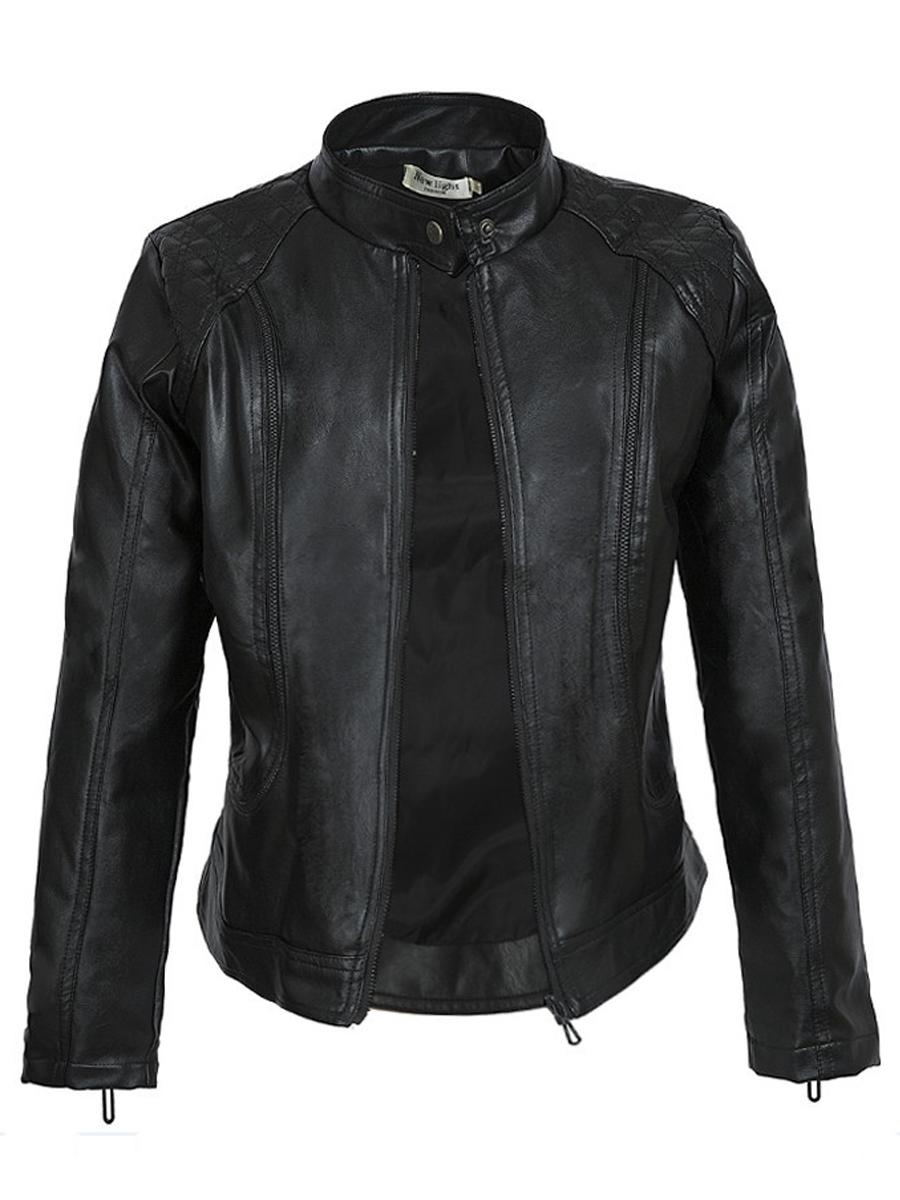 LW Mandarin Collar Zipper Design Leather