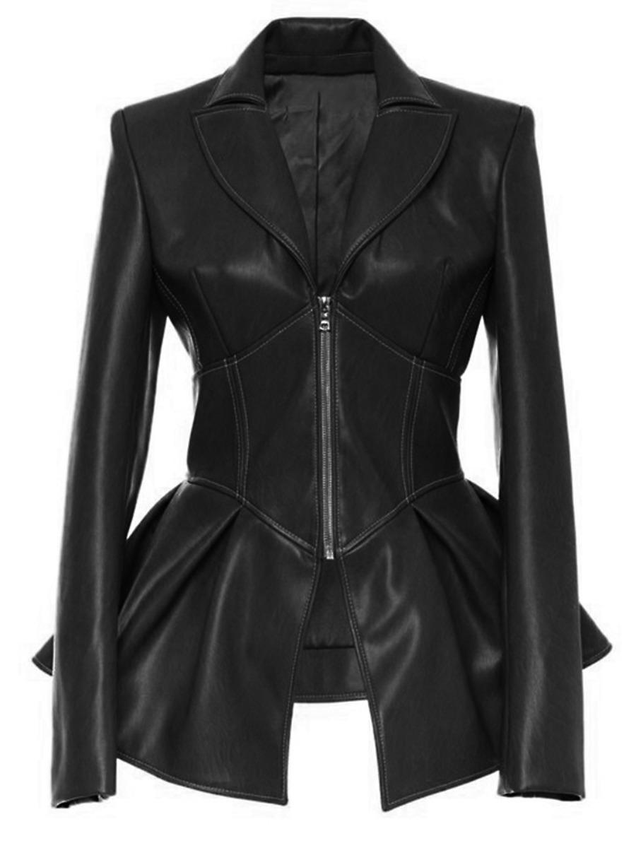 LW Zipper Flounce Design Design Leather
