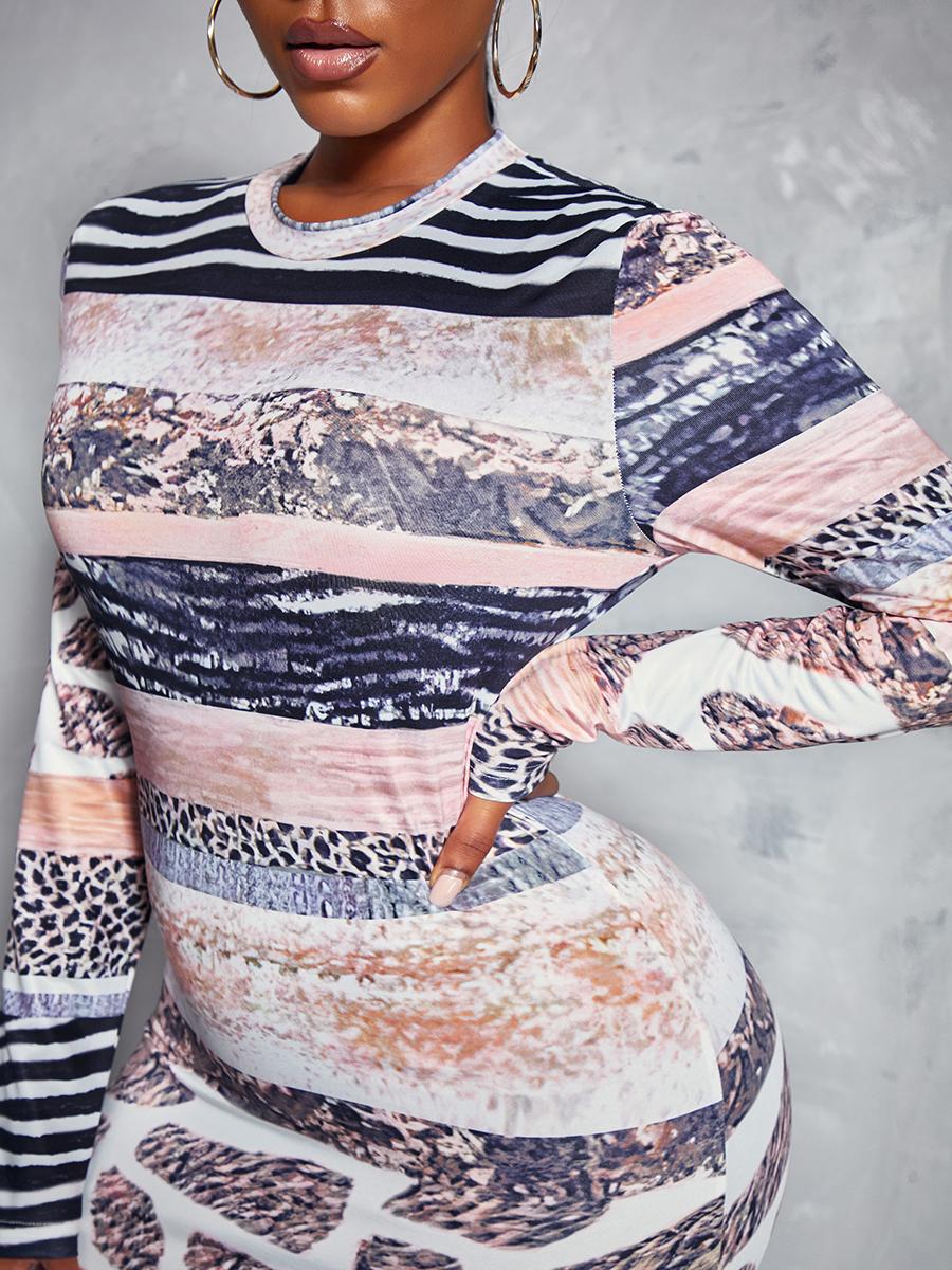 LW Animal Print Striped Bodycon Dress