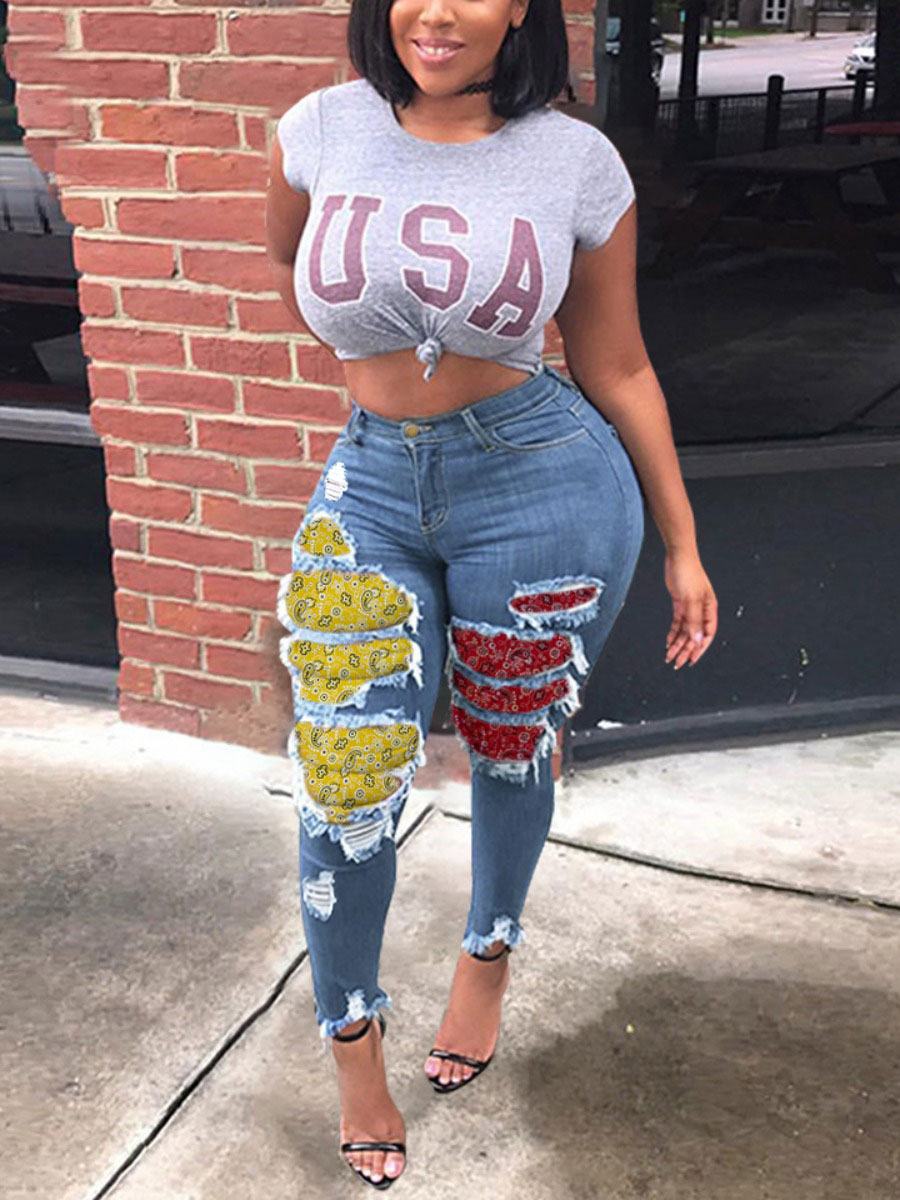 LW Cashew Print Ripped Jeans
