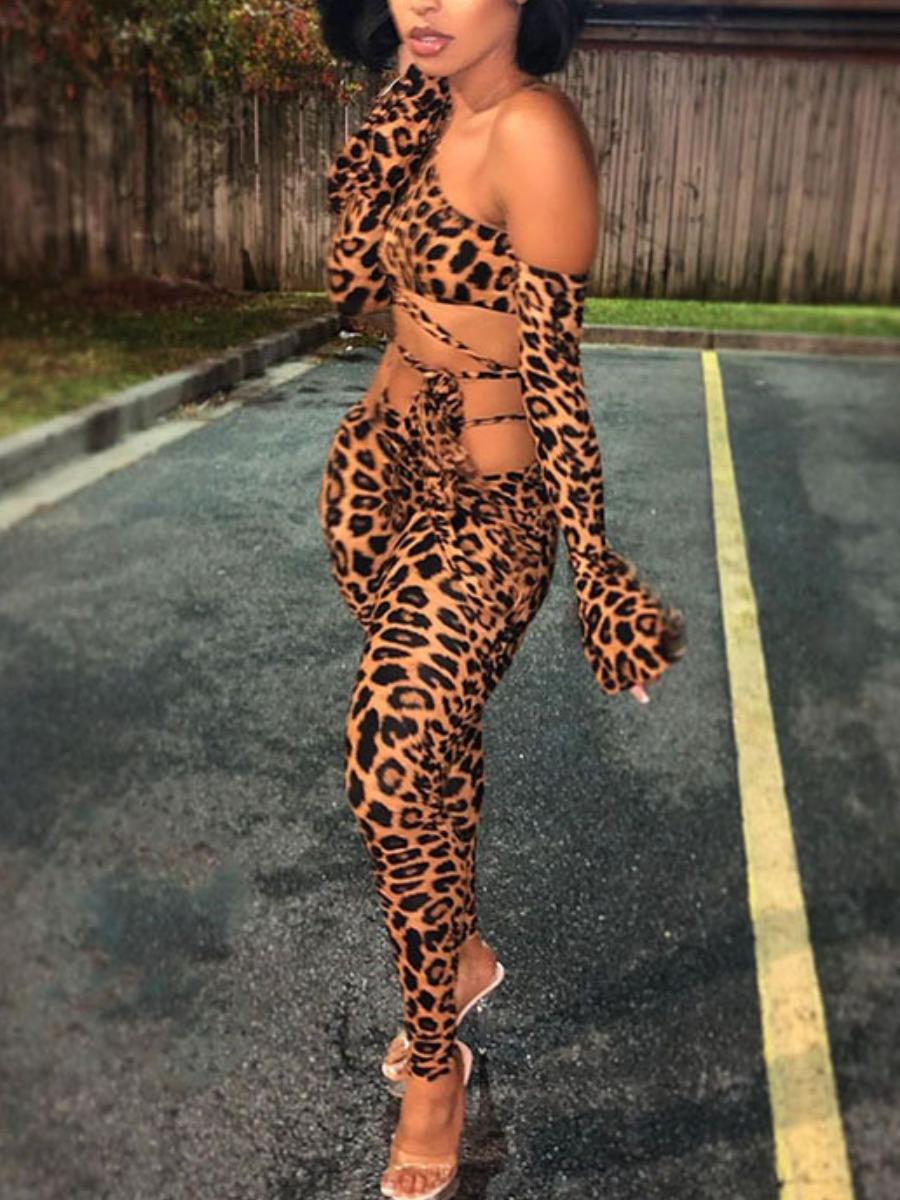LW SXY One Shoulder Leopard Print Flared Pants Set