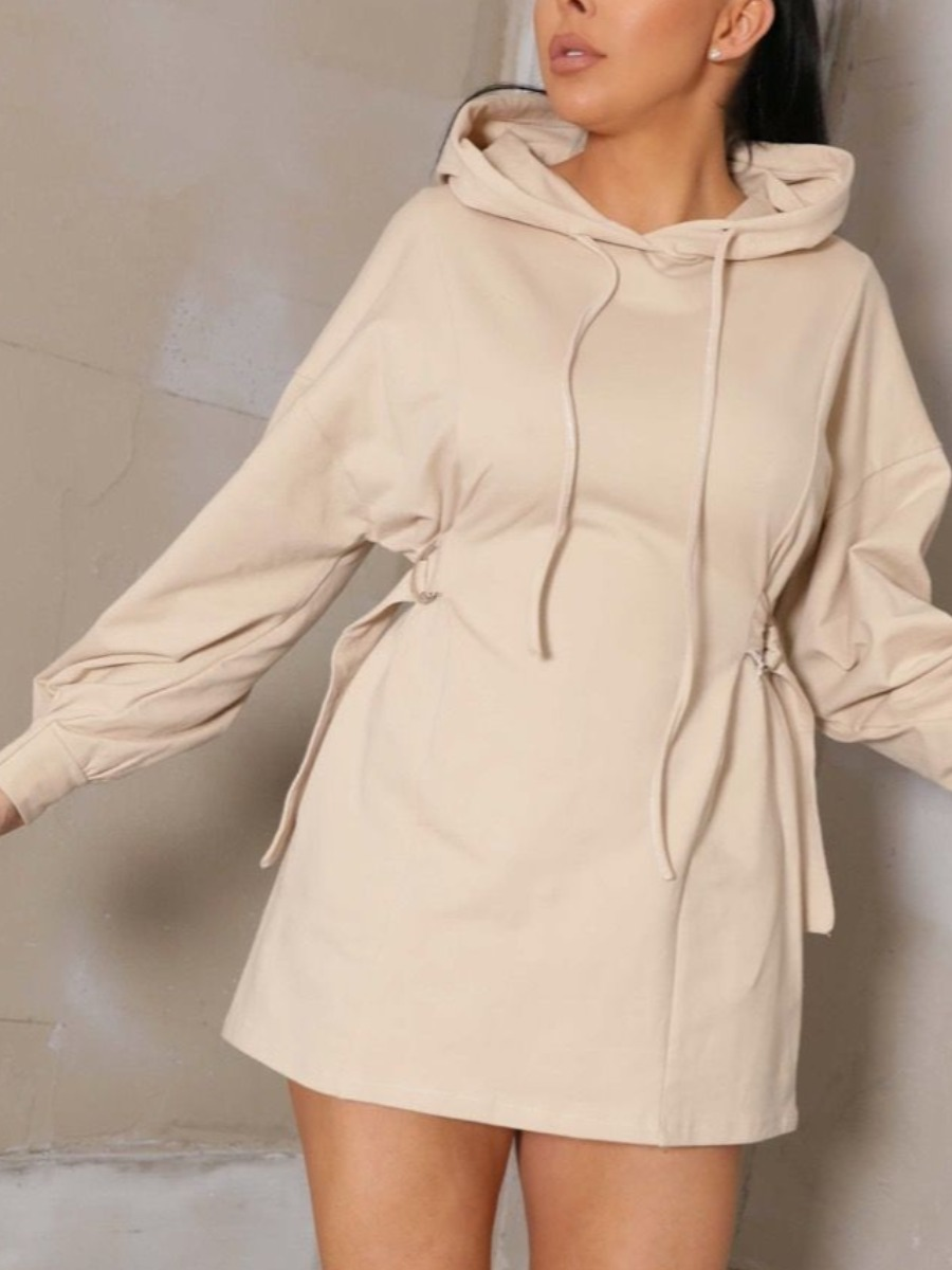 LW Hooded Collar Buckle Design Sweat Dress