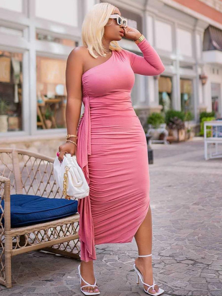 LW One Shoulder Fold Design Bodycon Dress