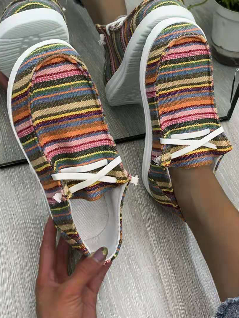 LW Striped Lace-up Flats