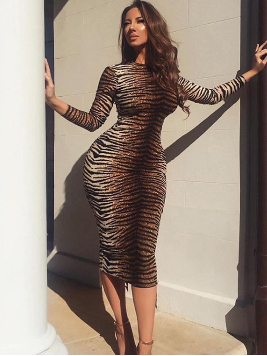LW Round Neck Tiger Striped Bodycon Dress