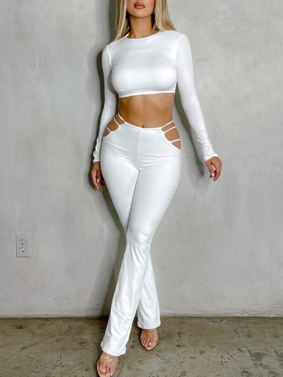 LW SXY Hollow-out Crop Top Pants Set