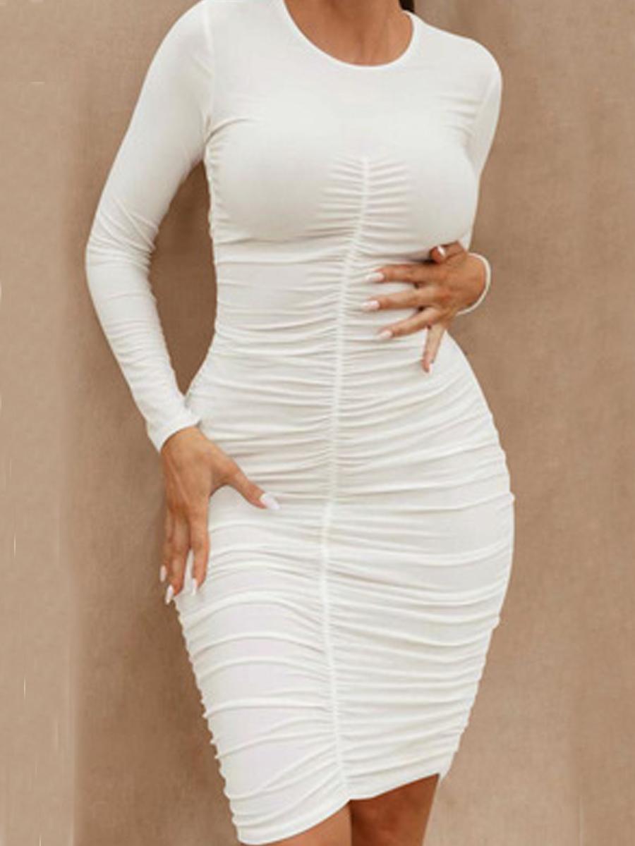 LW Round Neck Ruched Bodycon Dress