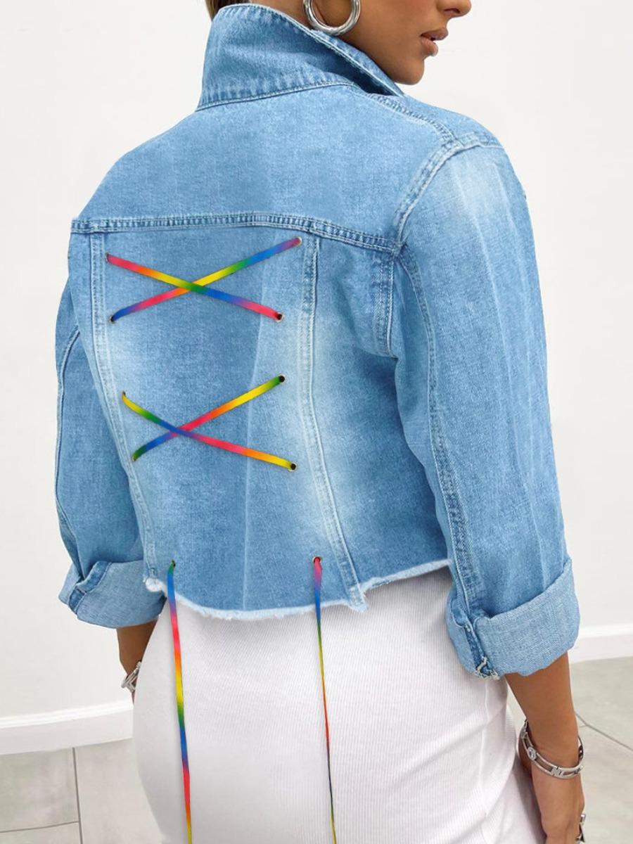 LW Raw Edge Bandage Design Denim Jacket