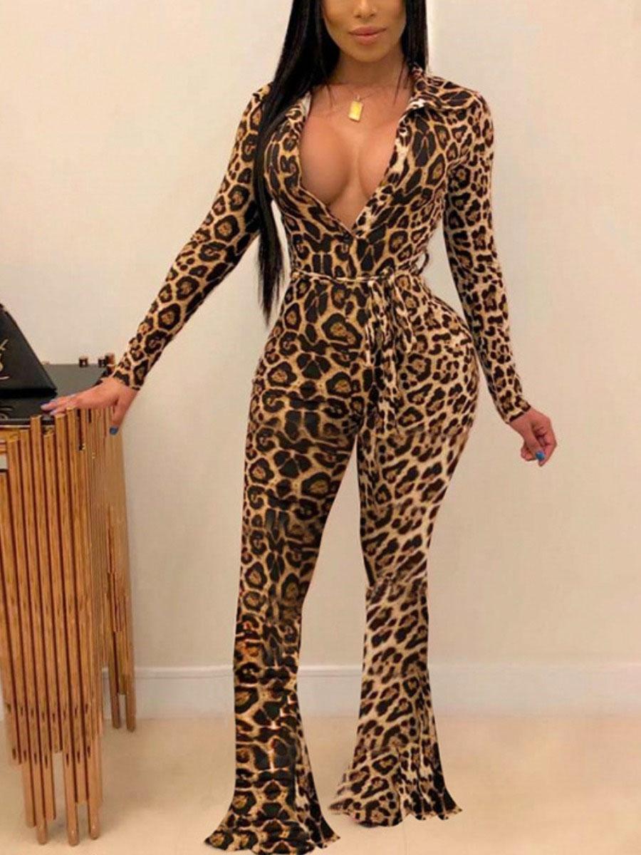 LW SXY Leopard Print Flared Jumpsuit