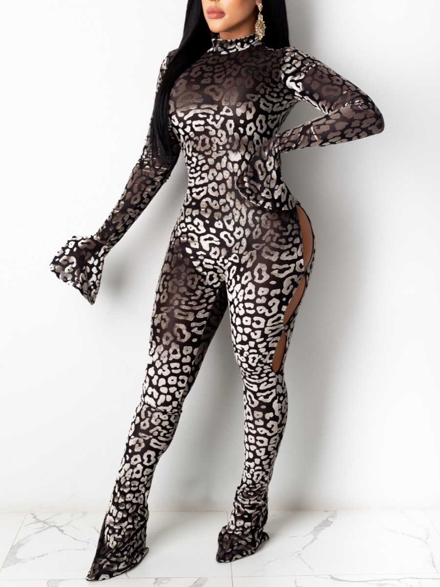 LW Leopard Print Hollow-out Flared Jumpsuit