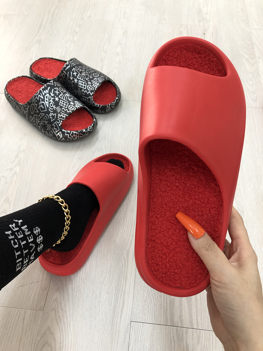 LW Open Front Plush Slippers