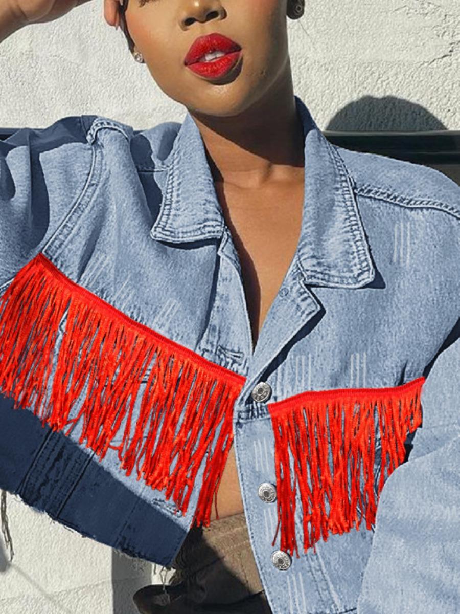 LW Raw Edge Tassel Design Denim Jacket
