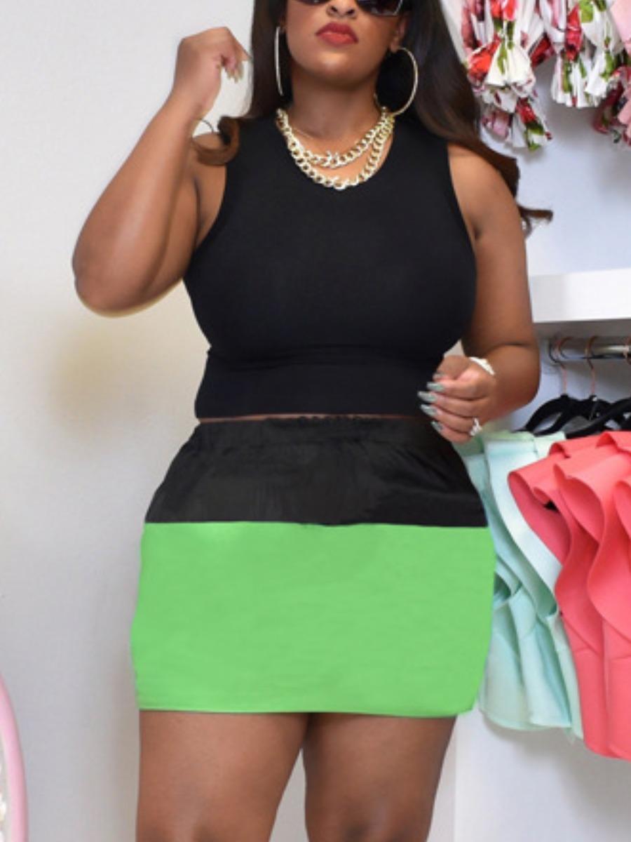 LW Plus Size Round Neck Color-lump Skirt Set