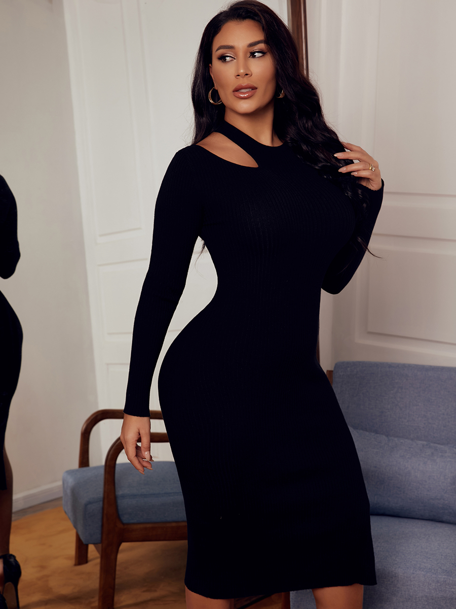 LW SXY Solid Hollow-out Bodycon Dress