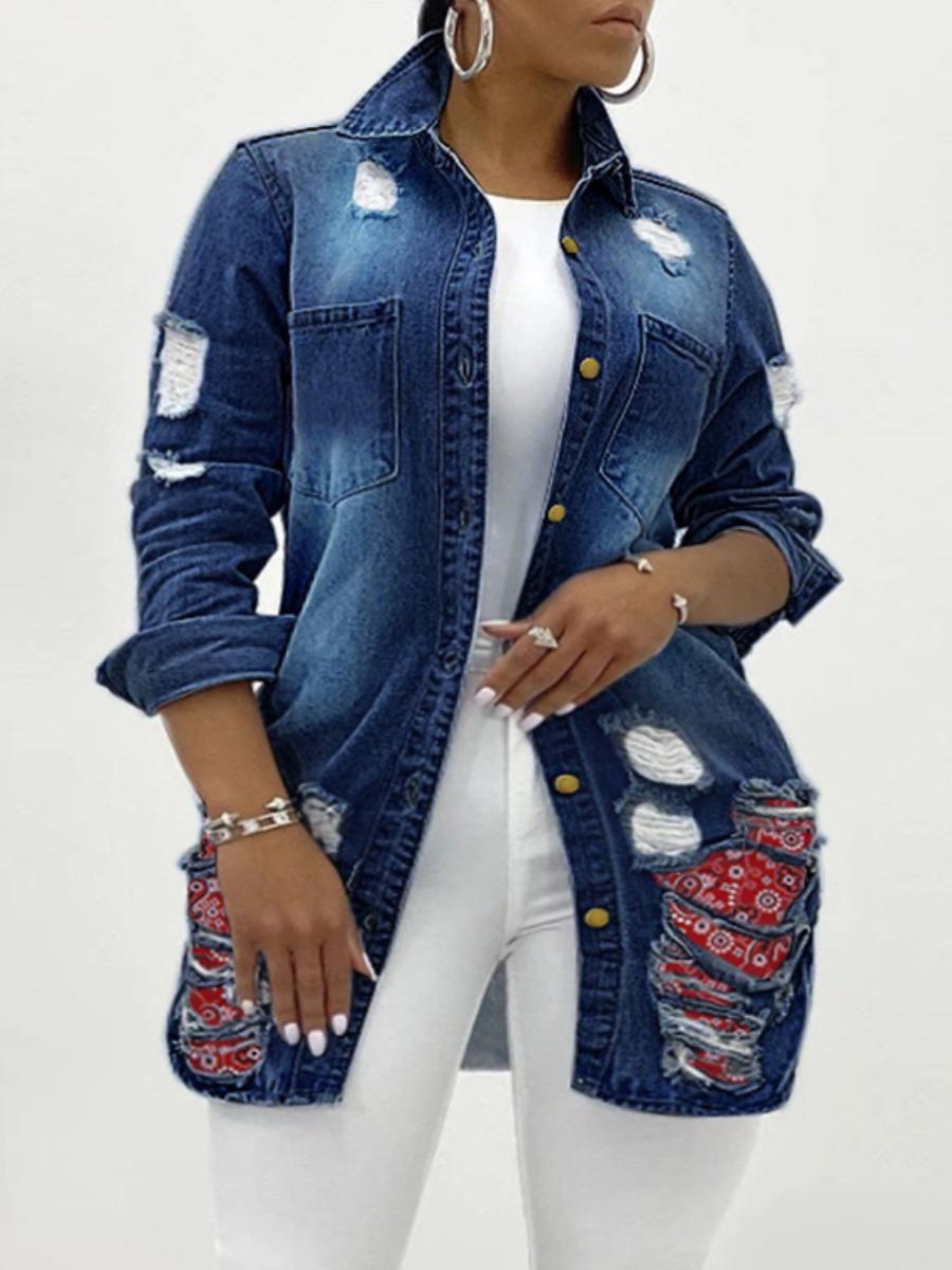 LW Plus Size Cashew Print Ripped Denim Jacket