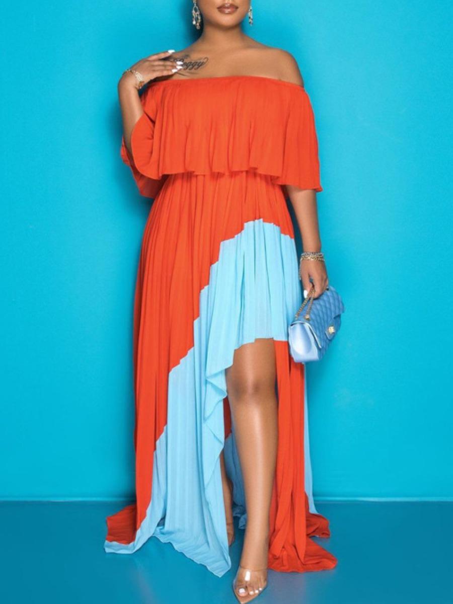 LW Plus Size Off The Shoulder Fold Design Dress