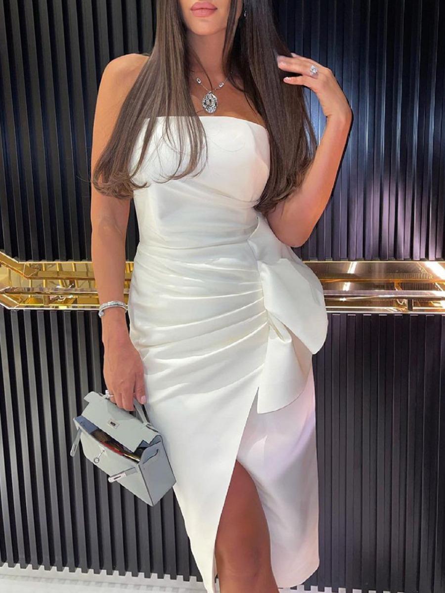 LW SXY Off The Shoulder Fold Design Slit Prom Dress