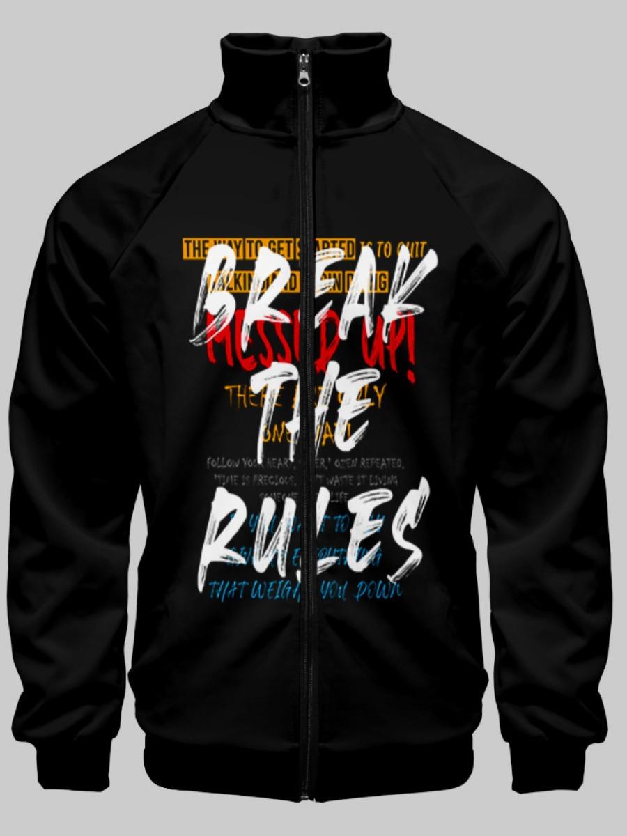 LW Men Letter Print Zipper Design Jacket