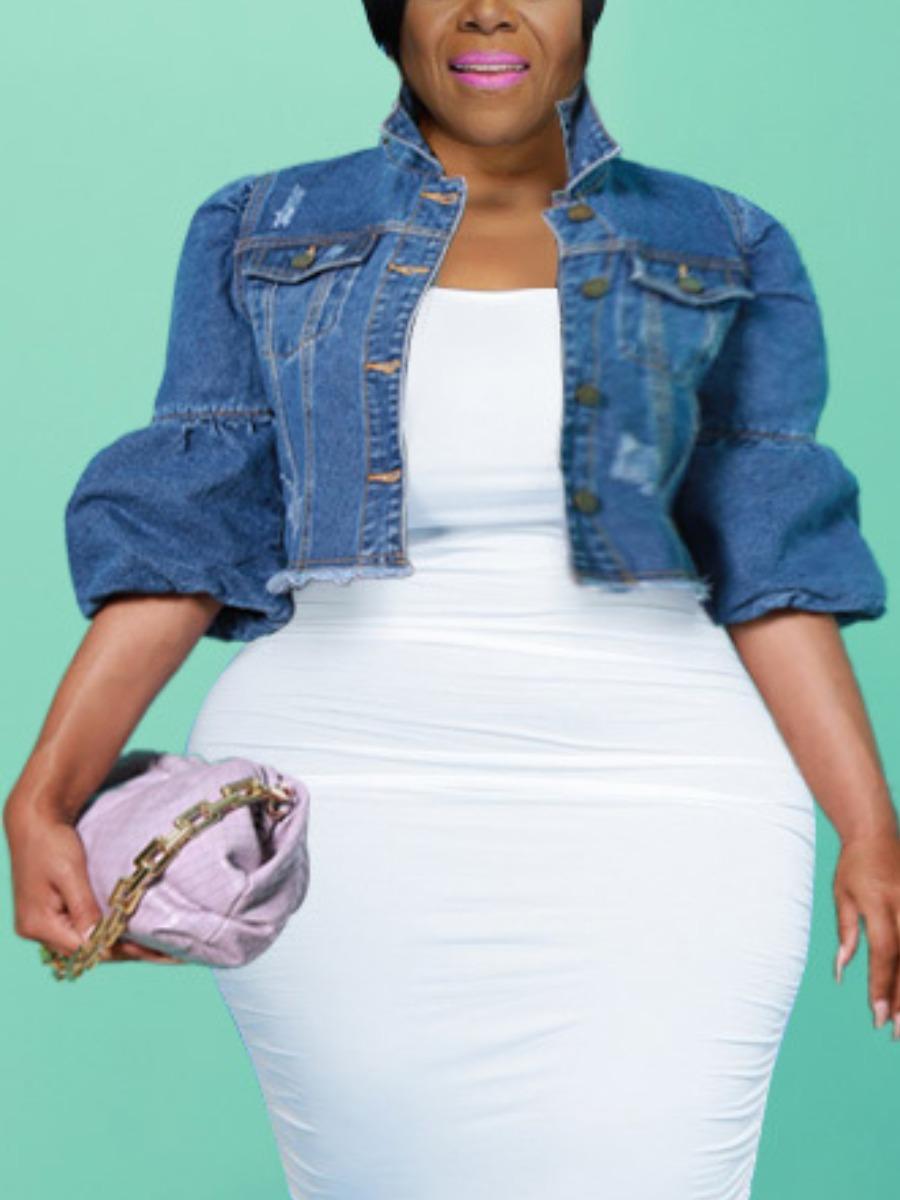 LW Plus Size Puff Sleeve Raw Edge Denim Jacket