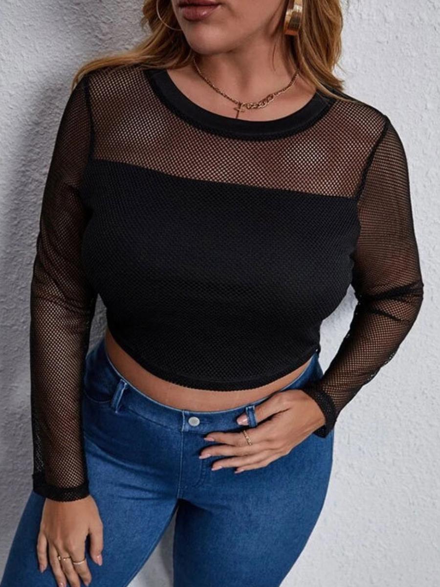 LW SXY Plus Size Round Neck See-through T-shirt