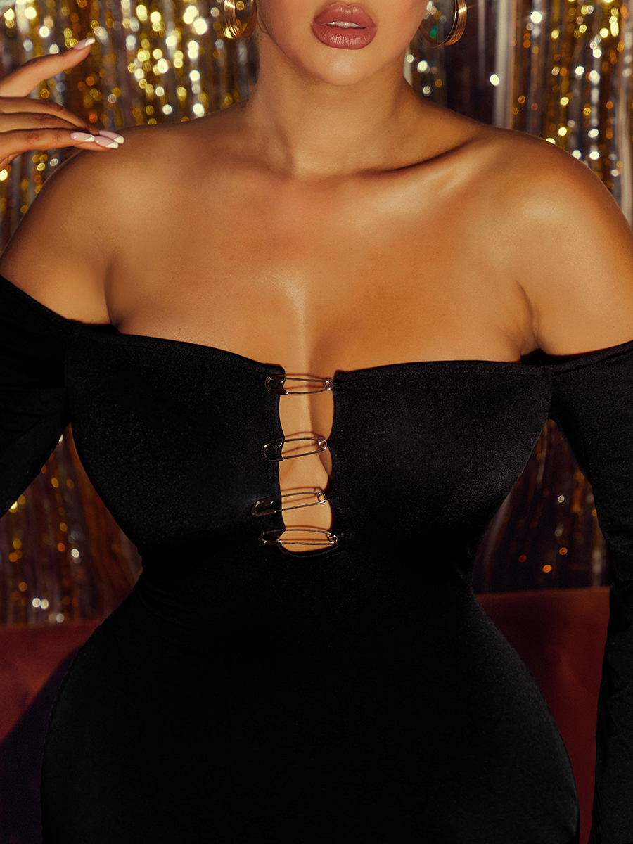 LW Off The Shoulder Pin Decor Bodycon Dress