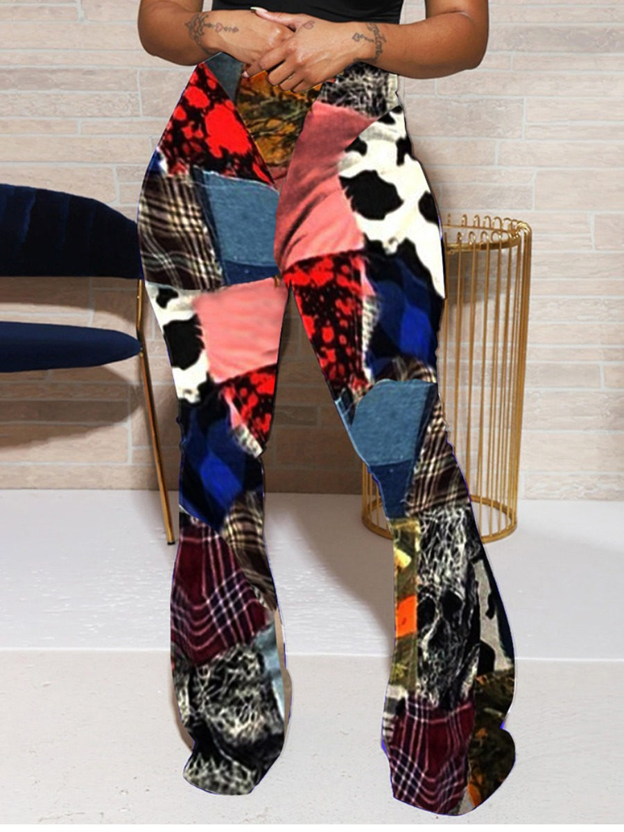 LW Patchwork Flared Pants