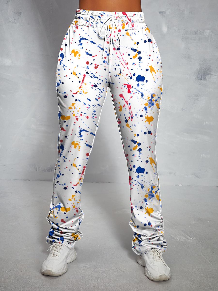 LW Splash-ink Design Drawstring Pants