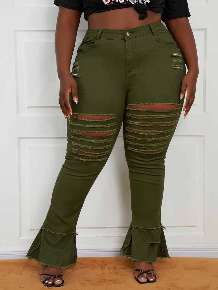 LW Plus Size Ripped Flared Jeans