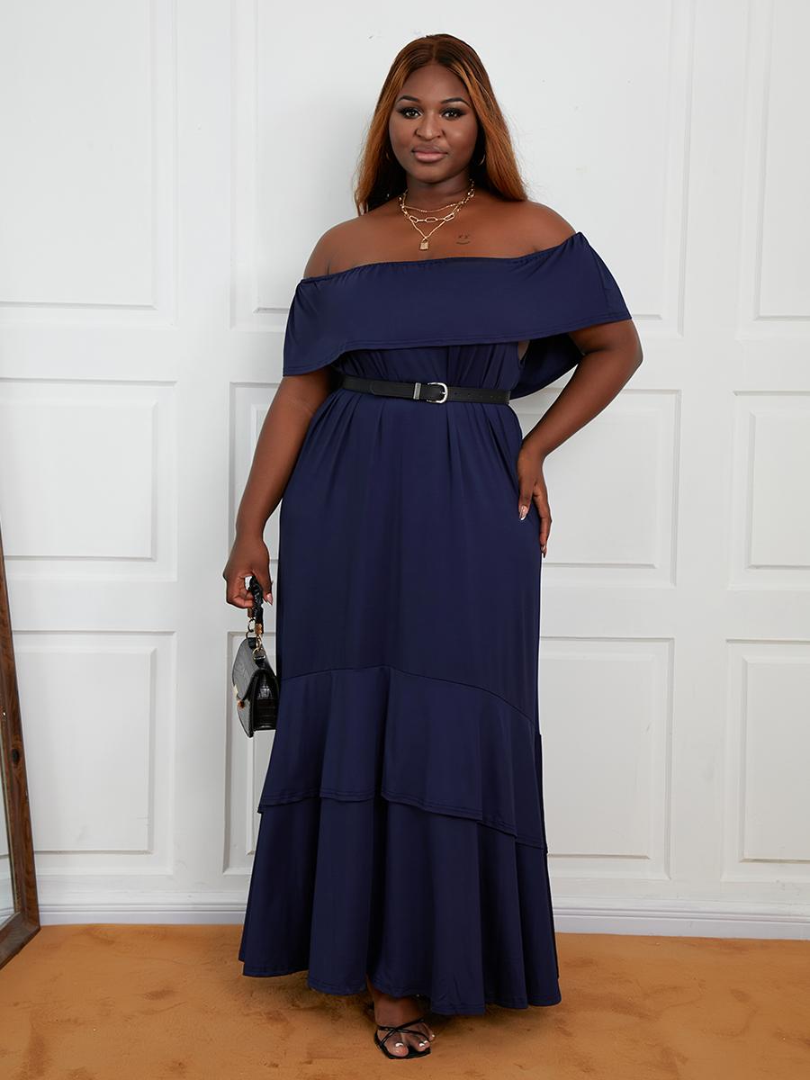 LW Plus Size Off The Shoulder A Line Dress (Without Belt)