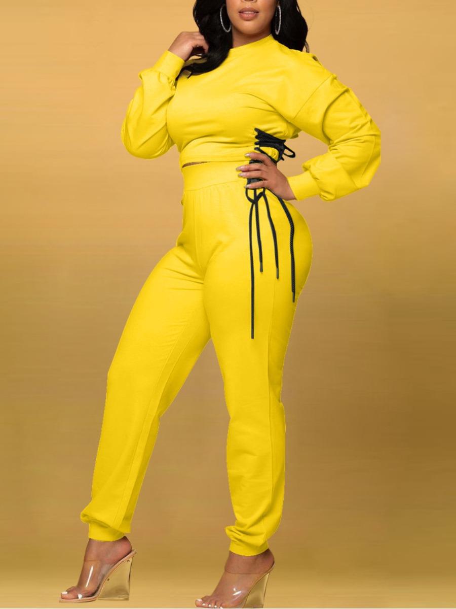 LW Bandage Design High-waisted Pants Set