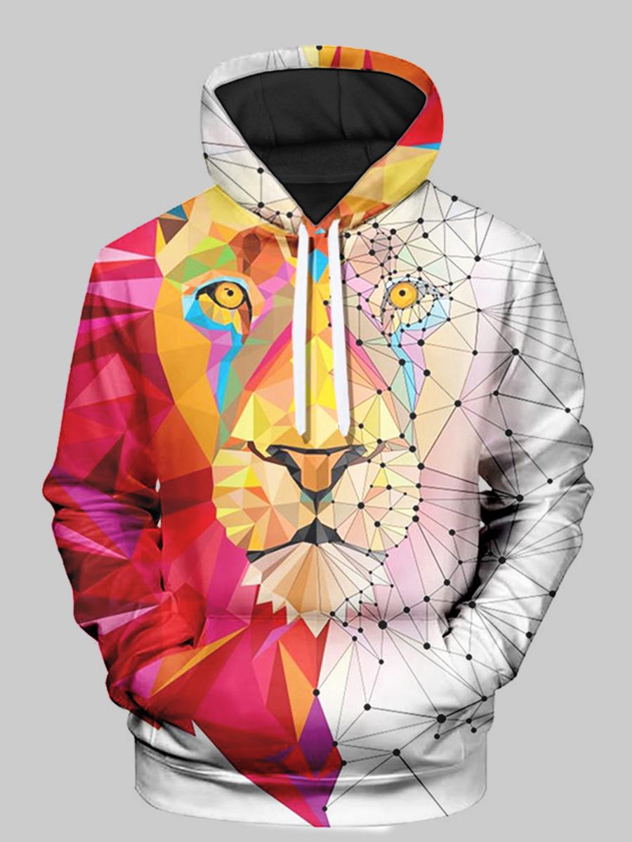 LW Men Lion Print Oversized Hoodie