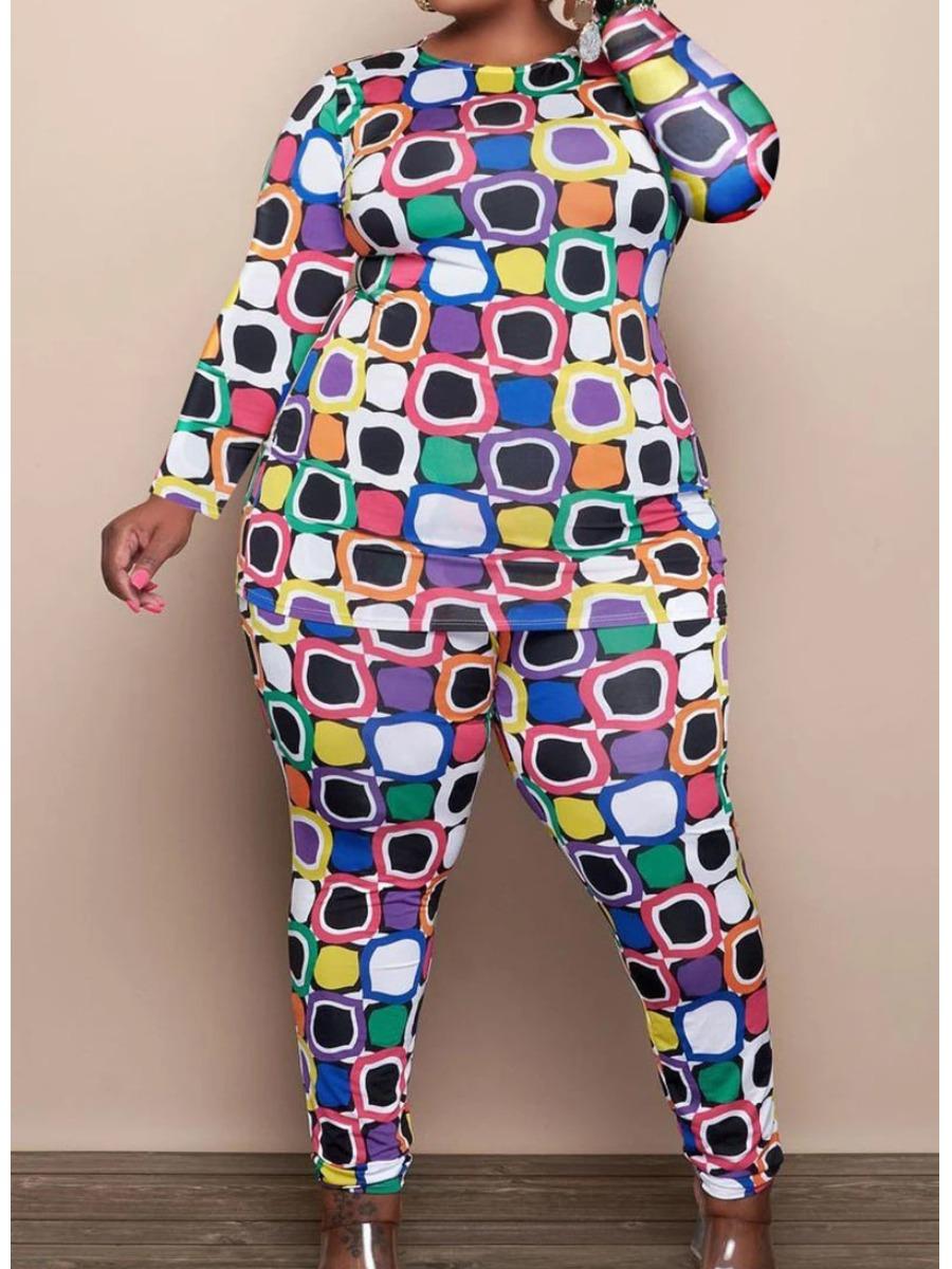LW Plus Size Color-lump Patchwork Pants Set