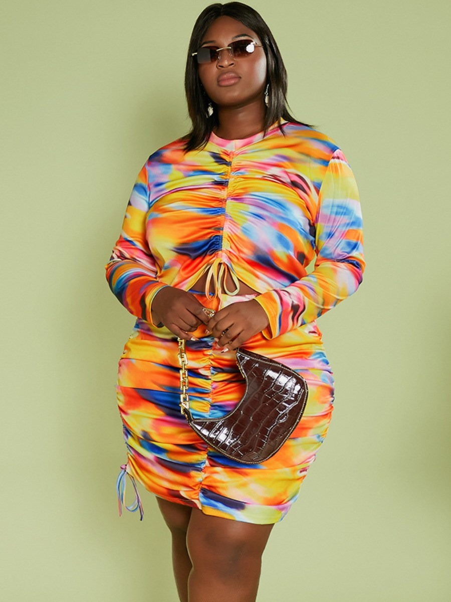 LW Plus Size Tie-dye Ruched Drawstring Skirt Set