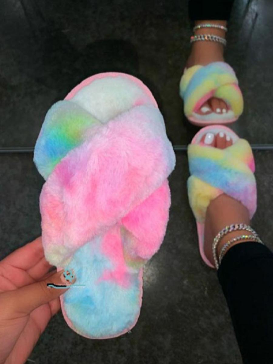 LW Tie-dye Plush Slippers