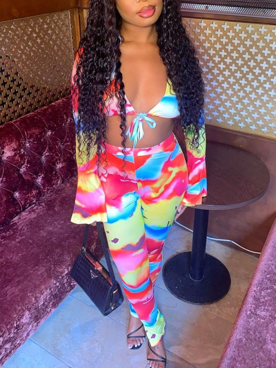 LW SXY Tie-dye Flared Crop Top Pants Set