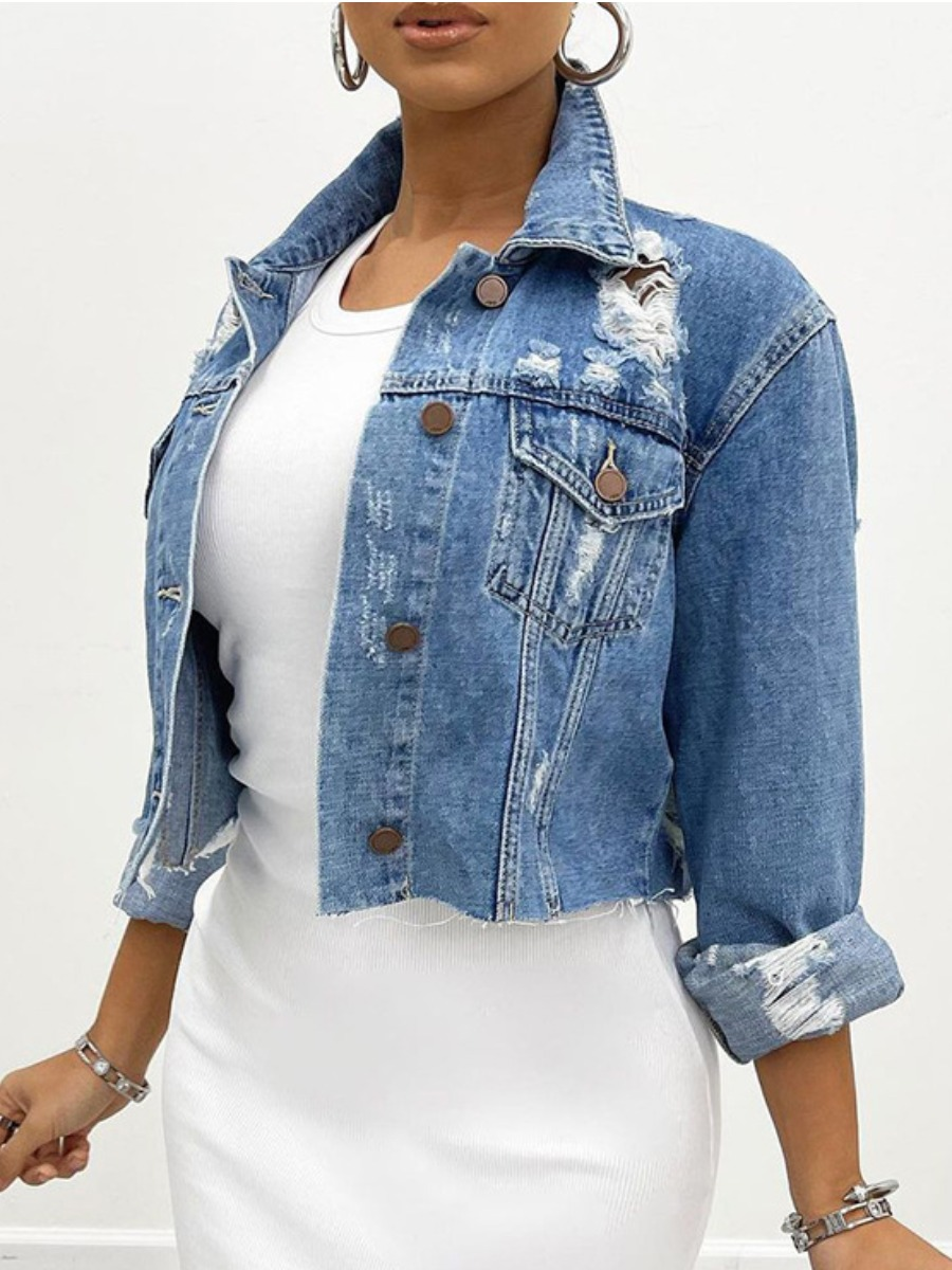 LW BASIC Ripped Raw Edge Denim Jacket