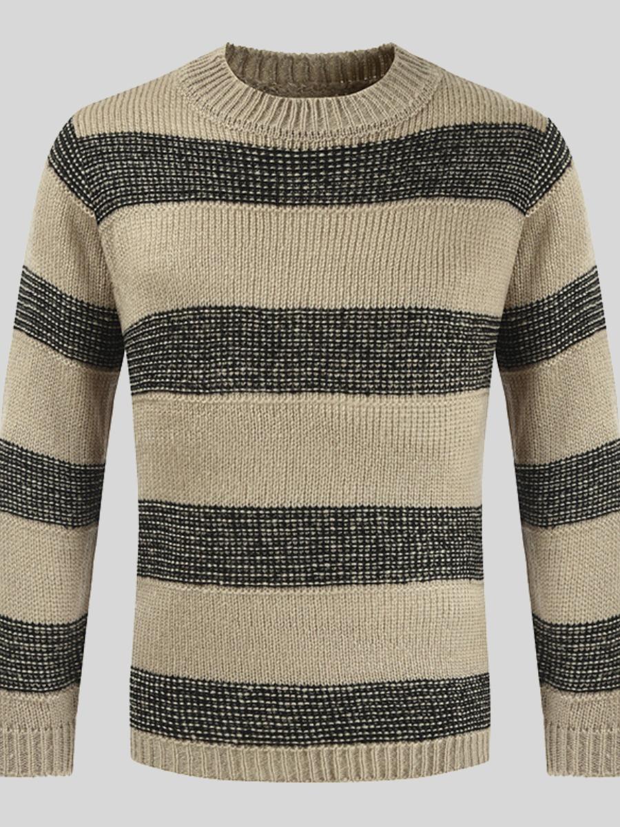 LW Men Round Neck Striped Patchwork Sweater