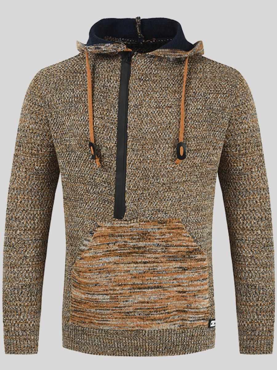 LW Men Hooded Collar Kangaroo Pocket Sweater