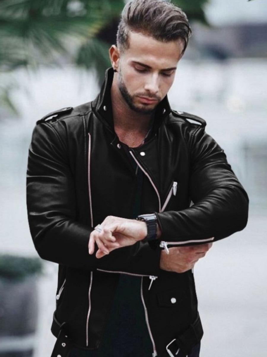 LW Men Metal Accessories Decor Zipper Design Jacket