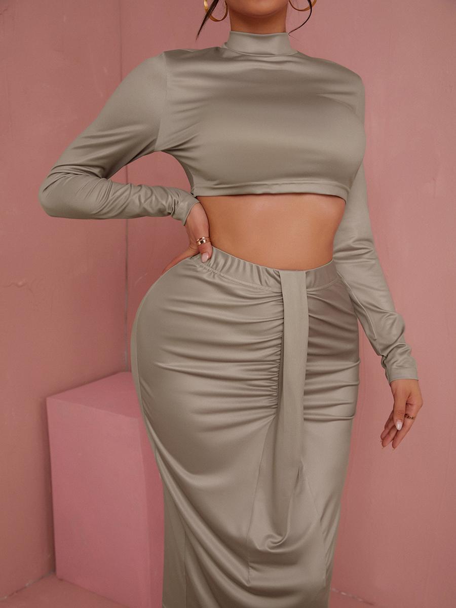 Lovely Fold Solid Regular Two-piece Skirt Set