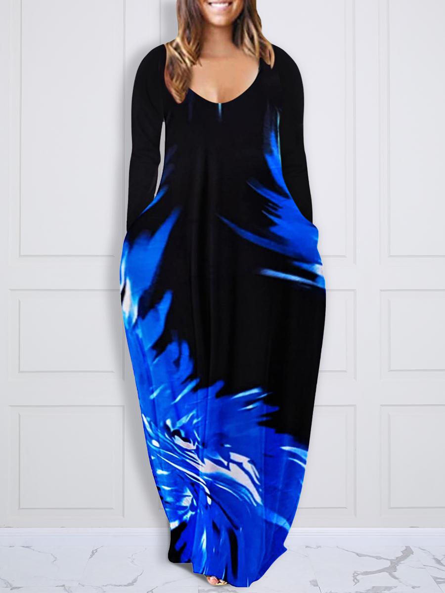 LW Plus Size U Neck Butterfly Print Dress