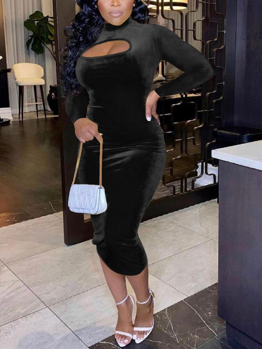 LW SXY Velvet Round Neck Hollow-out Bodycon Dress