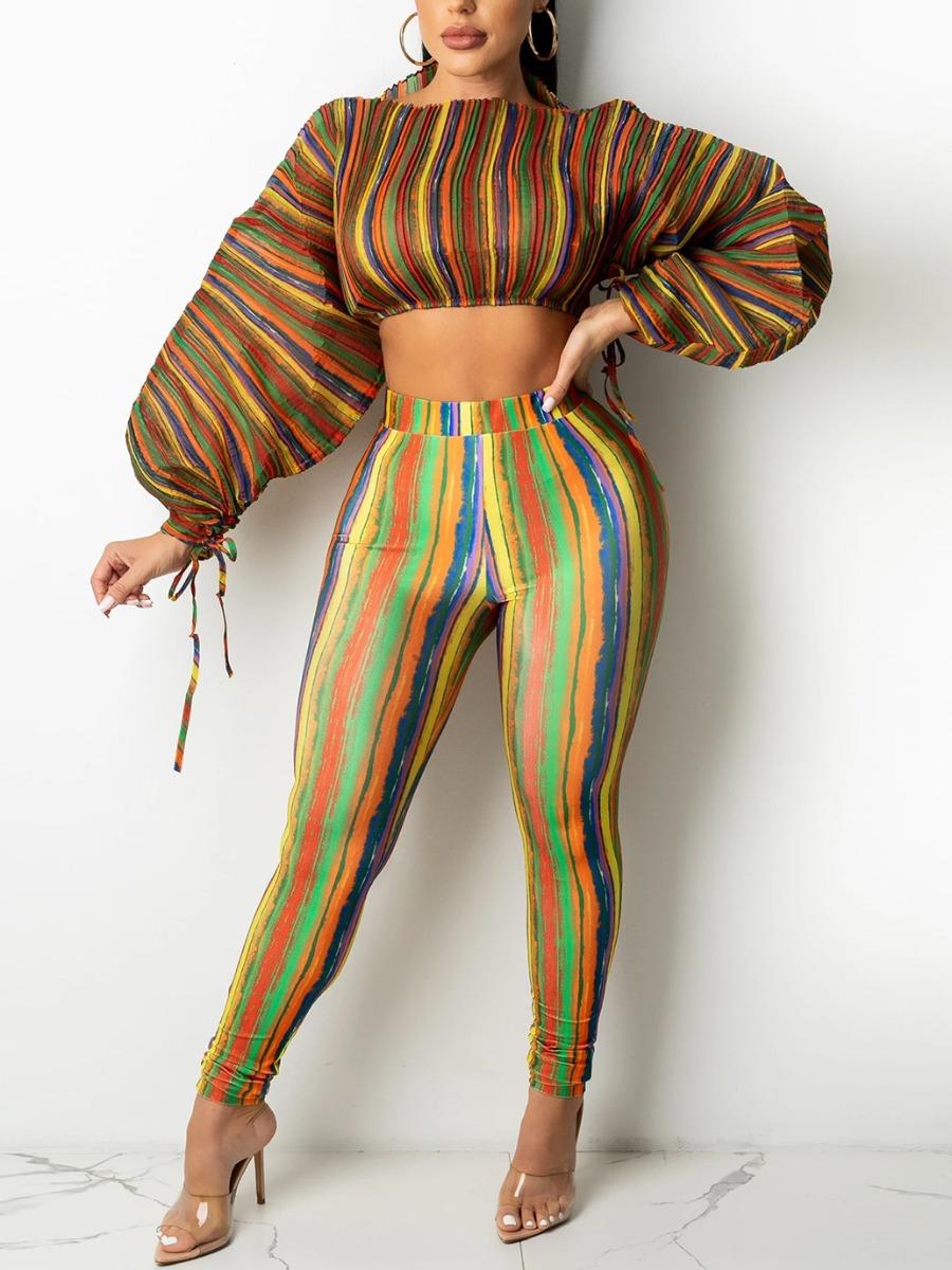 LW Striped Bandage Crop Top Pants Set