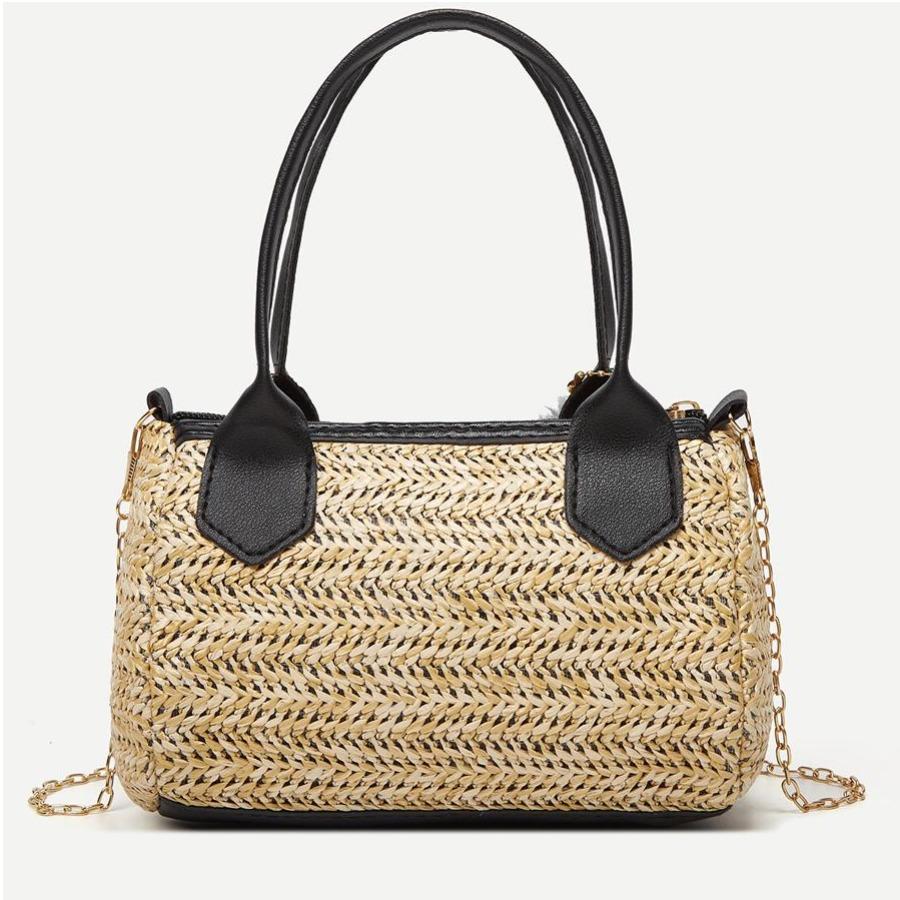 Lovely Braided Fluff Ball Decor Messenger Bag