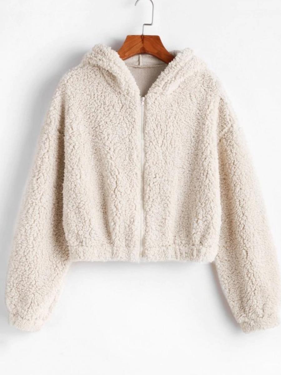 LW BASICS Hooded Collar Zipper Design Teddy Coat