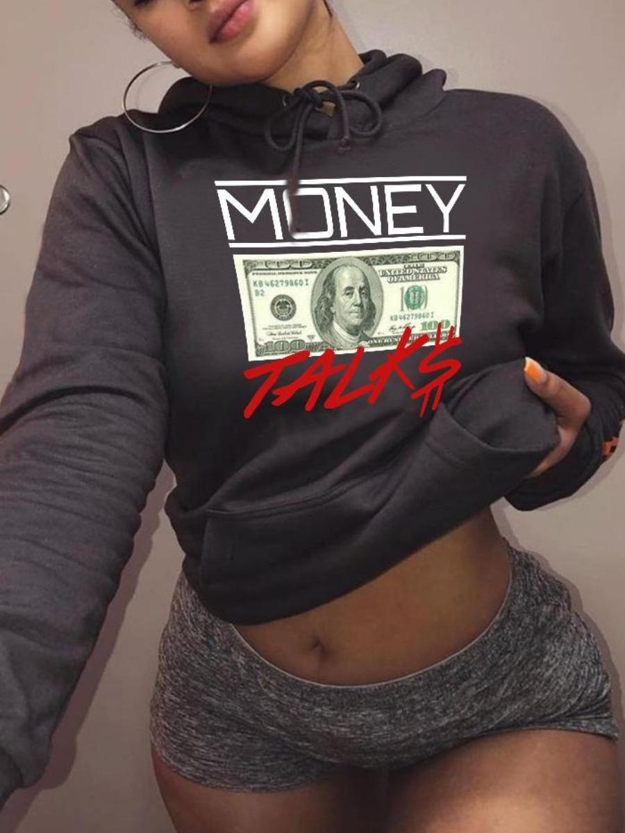 LW BASICS Letter Money Print Kangaroo Pocket Hoodie
