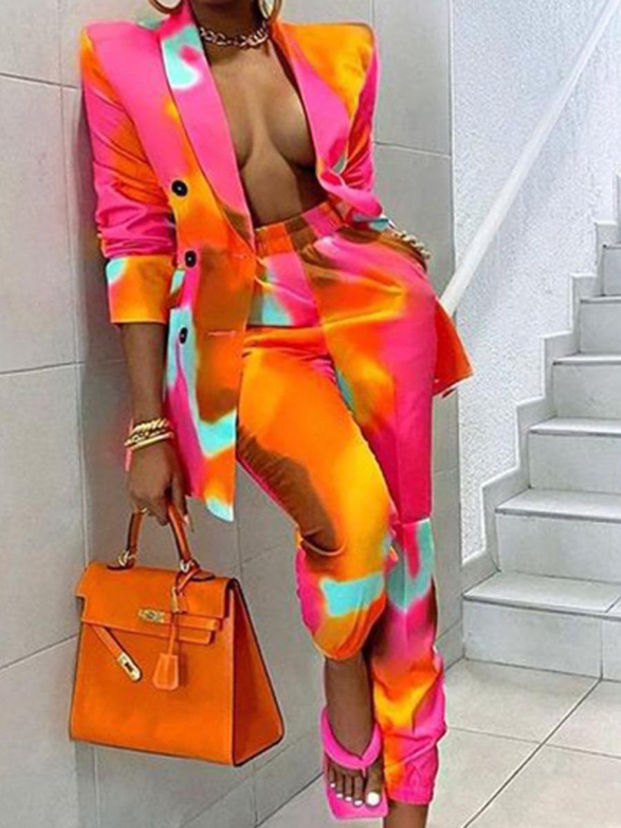 LW Tie-dye Single Breasted Pants Set