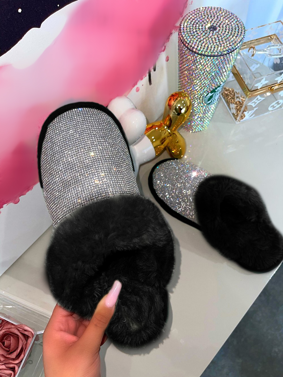 LW Sequined Plush Patchwork Slippers